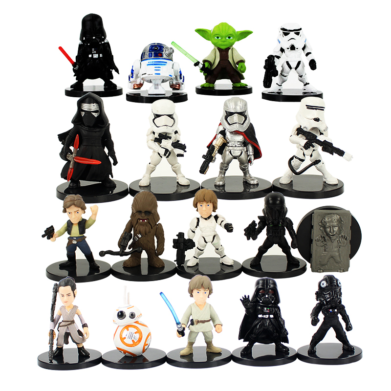 купить 5cm Star Wars Toy Darth Vader Kylo Ren The Storm Troops Imperial Stormtrooper Yoda PVC Action Figure Set Star Wars Figure онлайн