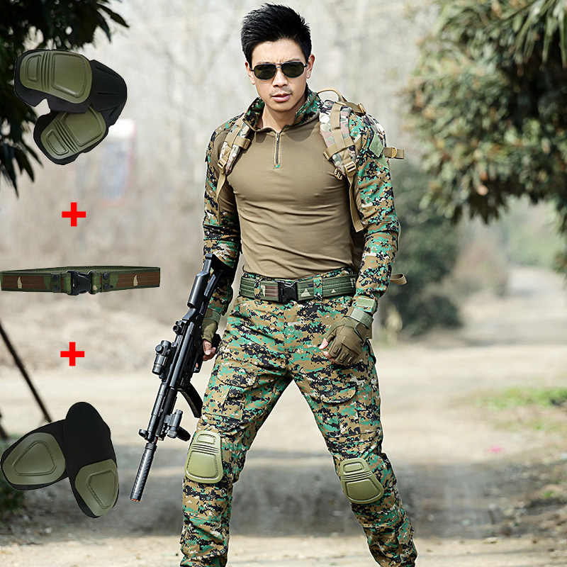 Military Tactical Hunting Clothes Army Combat Shirt +Pants With Knee Pads Multicam Mens Hunting Camouflage Clothing Female Suits emes g3 tactical pants with knee pads em7036 army pants typ mr hld mcbk mcad