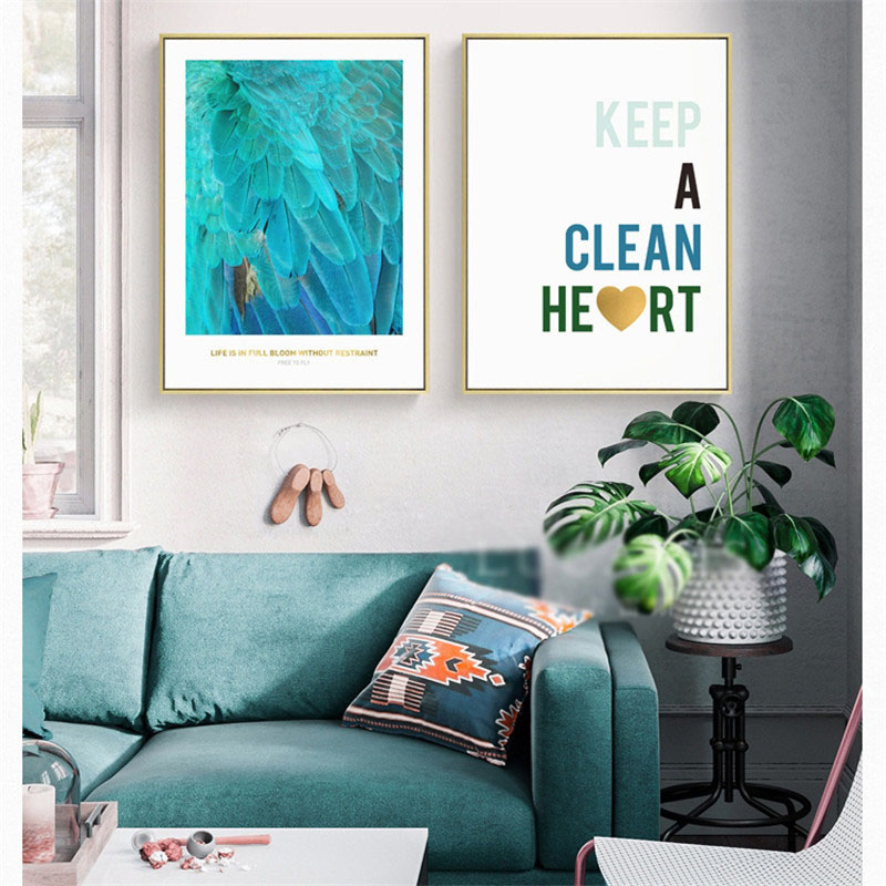 HAOCHU Nordic Canvas Oil Painting Wall Art Print Poster Blue Gem Ocean Feathers English Letter Heat Living Room Home Decorations in Painting Calligraphy from Home Garden