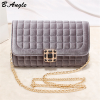 High Quality Velour Material Beading Sequined Button Plaid Women Bag Chain Bag Messenger Bag Women Leather