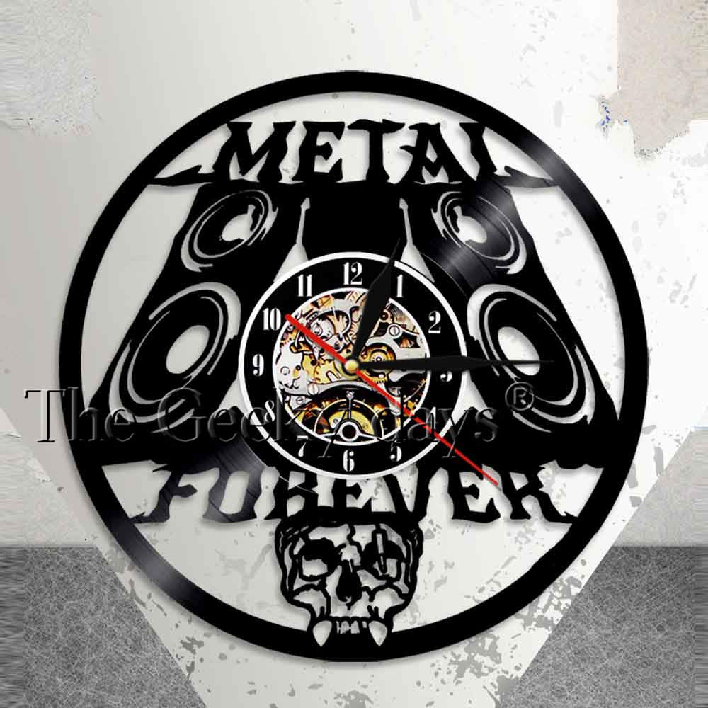 Heavy Metal Music Wall Sign Rock n Roll Music Studio Wall Decor Rock Band Wall Clock Metal Music Vintage Vinyl Record Wall Clock