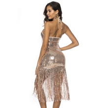 Sleeveless Sequined Midi Dress Tassel Hem O Neck Hollow Out Backless Halter Party Dress Night Club Dress Silver Black Gold