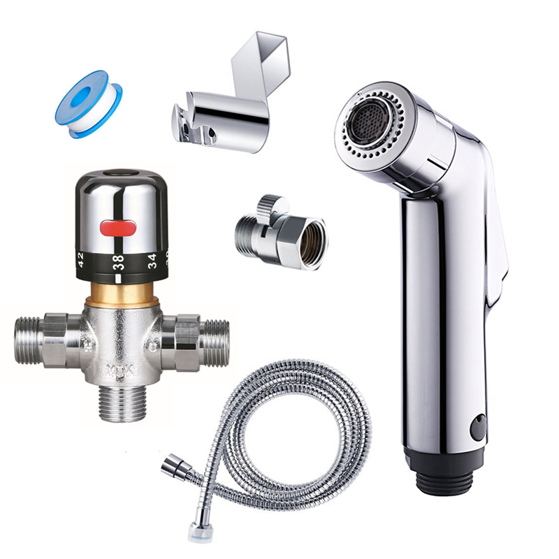 Thermostatic toliet bidet faucet set flow adjustable double function hand bidet sprayer bathroom quality toilet shower