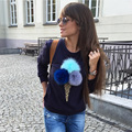 Женский Футболка Геометрические Мороженое Печати Сексуальная Truien Дамы Моды Пуловеры Толстовка Женщин Sudaderas Mujer 2016