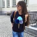 Female Sweatshirt Geometric Ice Cream Print Sexy Truien Dames Fashion Pullover Sweatshirt Women Sudaderas Mujer 2016