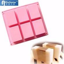 6 отверстий, 3D прямоугольная квадратная силиконовая форма для мыла, форма для выпечки кексов, форма для мыла, сделай сам, базовая форма для изготовления мыла вручную