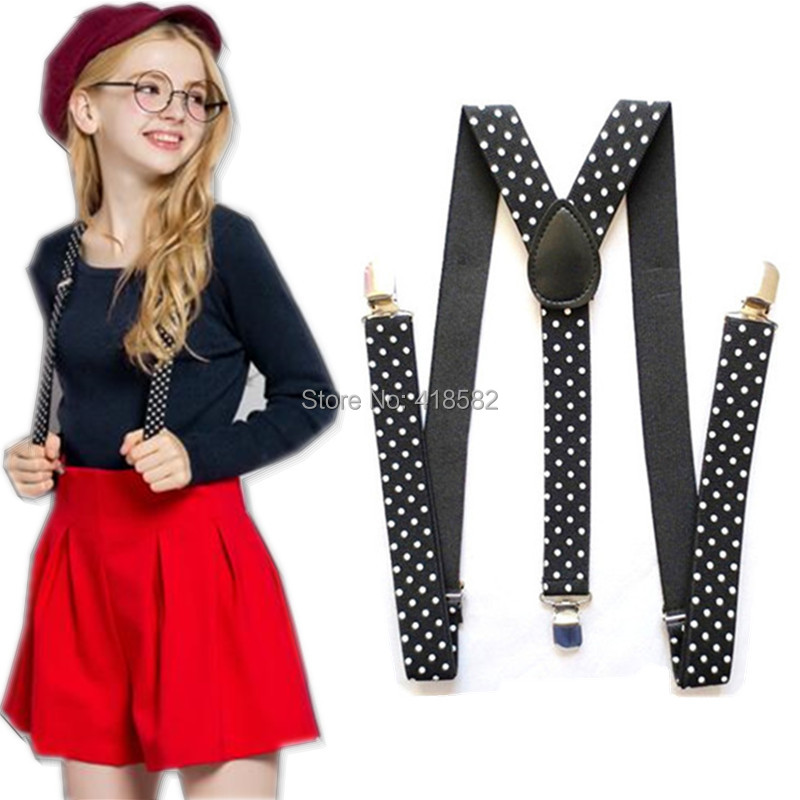 BD006-L New Women Suspenders Y-Back 2.5 Cm Width Dot Printed Suspenders Men's  Gallus 9 Colors Free Shipping
