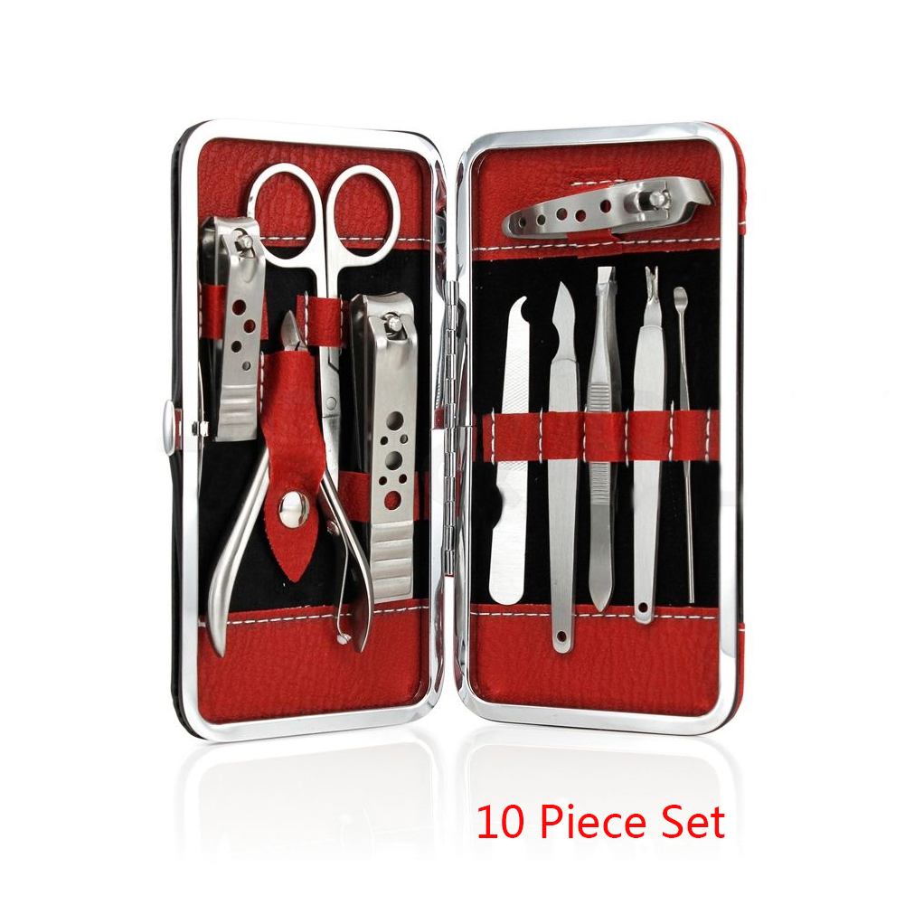 10 In 1 Manicure Set Professional Nail Clipper Kit Utility Pedicure Scissors Tweezer Knife Ear Pick Nails Art Beauty Tools Sets