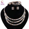 Collar de moda moda 2016 Boho de la joyería cristalina establece Mujeres chapado en Oro con los pendientes collar llamativo para el banquete de boda