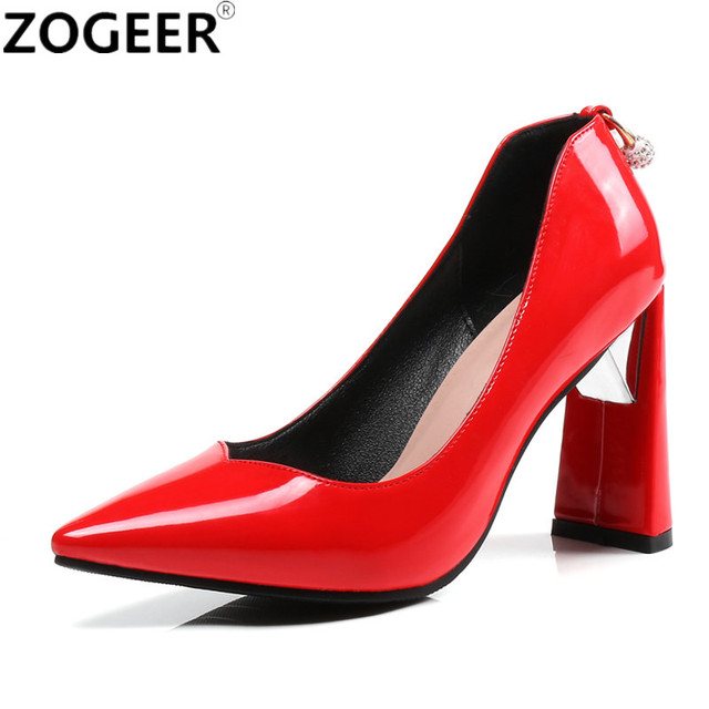 New 2018 High Heels Shoes White Pink Red Women Pumps Sexy Point Toe Wedding  Shoes Thick Heel Party Dress pump e9cc40dd5c9a