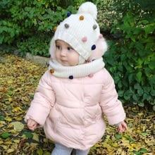 قبعات شتوية للأطفال طقم وشاح قبعة للبنات والأولاد مع قبعة ملونة