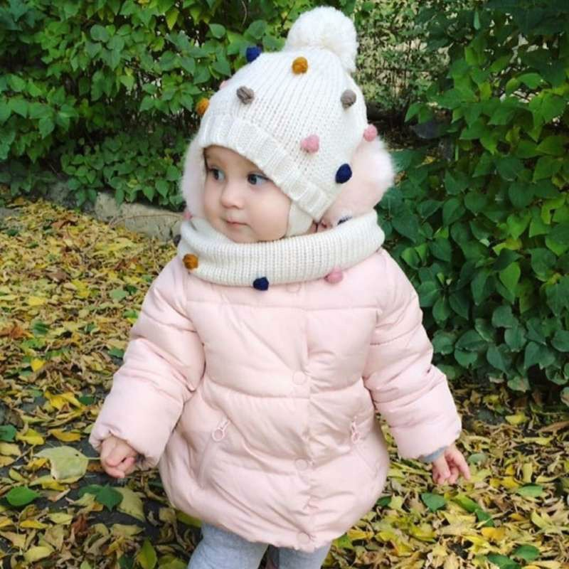 Children Winter Caps Earflap Pompom Hat Scarf Set For Girls And Boys Baby Hat With Colorful Pompom