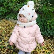 Çocuk kışlık şapkalar Kış Kulaklığı Ponpon Şapka Eşarp Seti Kız Ve Erkek Bebek Şapka Ile Renkli Ponpon