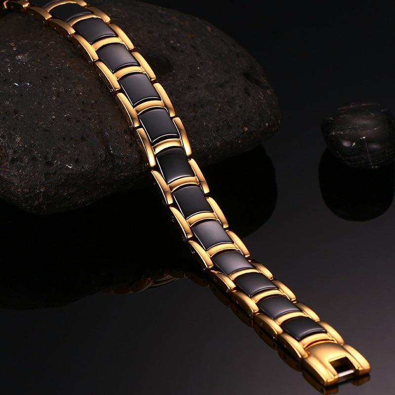 Vinterstål magnetisk armband man svart keramik energi germanium - Märkessmycken - Foto 4