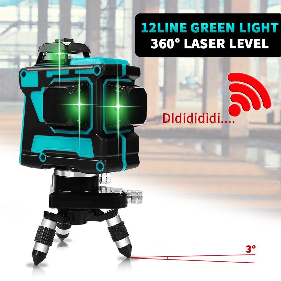 12 lignes 3D 360 croix horizontale et verticale Super puissante ligne de faisceau Laser vert niveau auto-nivelant
