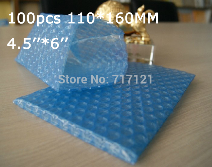100 pcs blue color Anti Static Air Bubble Pouches 4.5 x 6_110*160mm free shipping