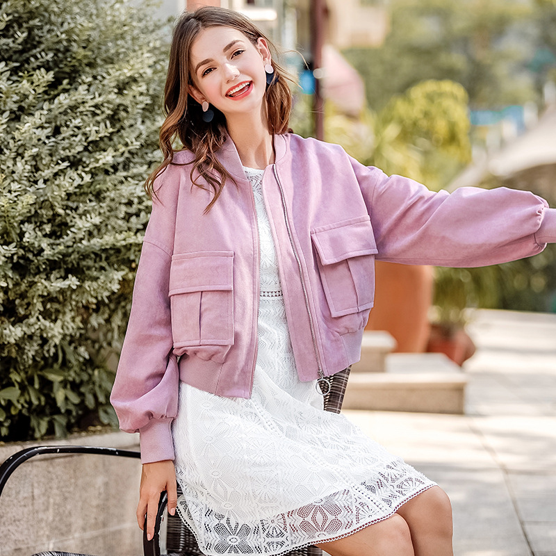 FOGIMOYA Jacket 2018 Autumn New Brand Boutique Women's Tops Fashion V-neck Zipper Solid Color Suede Jacket Casual Short Coat