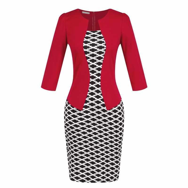 Новая мода весна осень стиль женское Формальное облегающее платье Элегантный Плюс Размер Клетчатый Карандаш платья офисная одежда Женская рабочая одежда