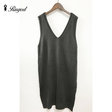 Sleeveless Womens Sweaters Fashion Autumn Long Vest Solid V-Neck Slim Knit Pullovers Loose Women's Knitted  Vests Vesten Dames