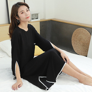 Image 2 - 2019 summer new plus size casual dress women sleepdress female for weight 100kg nightdress loose home clothing sleepshirts
