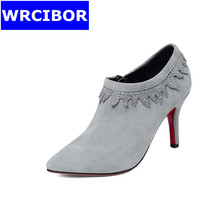 2017 Genuine leather womens shoes thin heels fashion woman pumps platform  pointed toe red bottom high heels lace up pumps woman