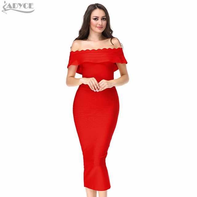 5673f26005d3 in stock 2018 new hot Ruffles Off The Shoulder strapless party Dress Bodycon  Elegant evening bandage Dress Vestidos wholesale