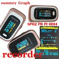 FDA Pulse Oximeter Visual&Sound Alarm SPO2 PR Memory Recall 8 Hours PI ODI *Sleep Measure Solid Waveform Blood Oxygen Monitor