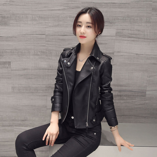 S-XXL New Women's Leather Jacket Spring 2017 Fashion Cool Motorcycle Leather Slim Short Leather Coat Female Plus Size