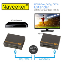 HDMI Extender with 2 Ports HDMI Splitter extend HDMI 1080P signal to 60m RJ45 Transmitter TX/RX with IR Converter Support CAT6
