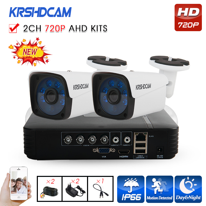KRSHDCAM 4CH AHD DVR Security CCTV System 30M IR 2PCS 720P CCTV Camera Outdoor Waterproof Camera Home Video Surveillance Kit home security systm 1080p ahd cctv camera kit 4 channel ahd dvr 4pcs outdoor ir night 2 0mp full hd camera ahd surveillance kit