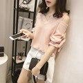Плюс большой размер топы blusas feminina 2016 новый корейский весна летом стиль женщин рубашки белый розовый полосы шифоновая блузка женщин A0324