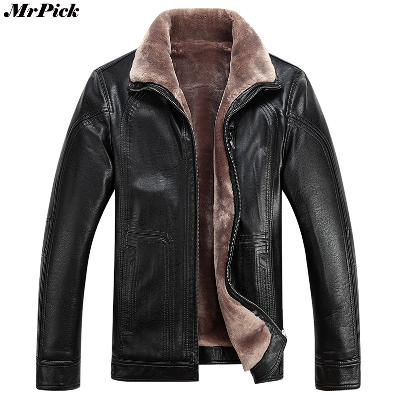 2017 New Motorcycle PU Leather Winter Coats Fashion Casual Snow Warm Fur Inside Coats 0707-3