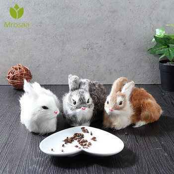 Artificial Rabbit Ornament Crouching Animals Models Handmade Realistic Dolls Stuffed Plush Toy Home decoration Gift for kids 1
