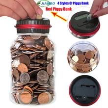 Digital Money Transparent Key Safe Box Jar Intelligent Electronic LCD Coin Counting Plastic Piggy Bank Saving Money Security Box