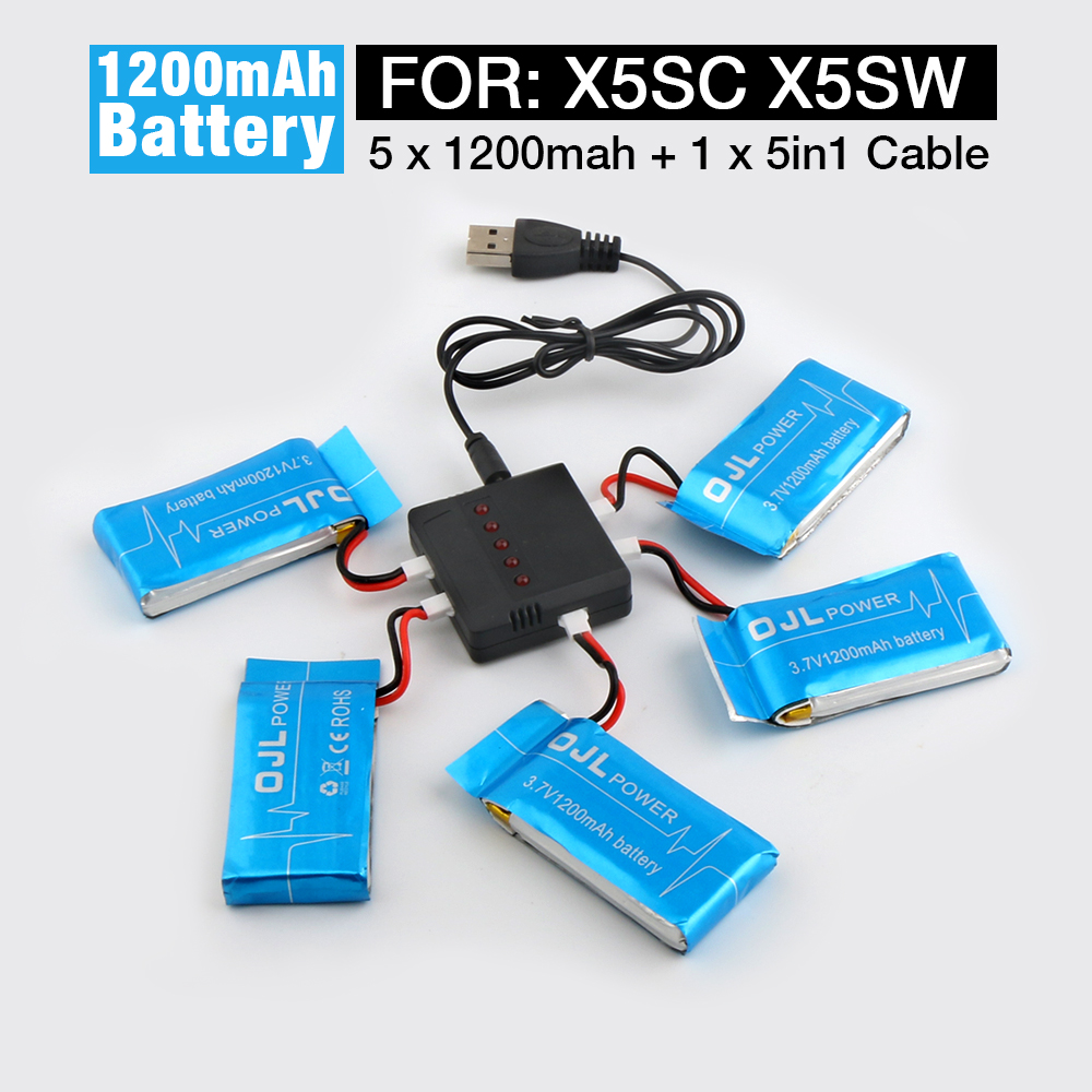 Syma X5SW X5SC RC Quadcopter Spare Parts Battery Ultra-high Capacity 3.7V 1200mAh Lipo Battery and 5in1 Cable and Charger forex b016 6607