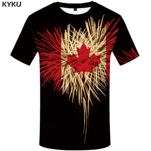 KYKU Brand Maple Leaf T shirt Men Fireworks Tshirts Casual Canada Anime Clothes Black T-shirts 3d Psychedelic Shirt Print(China)