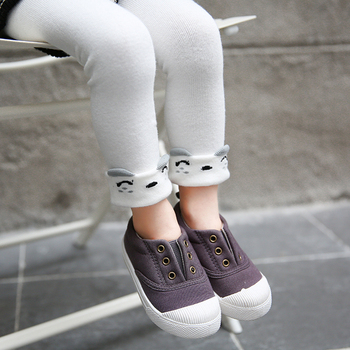 children girls spring fall grey white black cartoon leggings kids elastic waist cotton legging soft warm baby girl skinny pant image