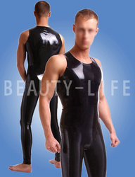 Latex tight bodysuit catsuit without zipper  or  with crotch zipper pants and top sets