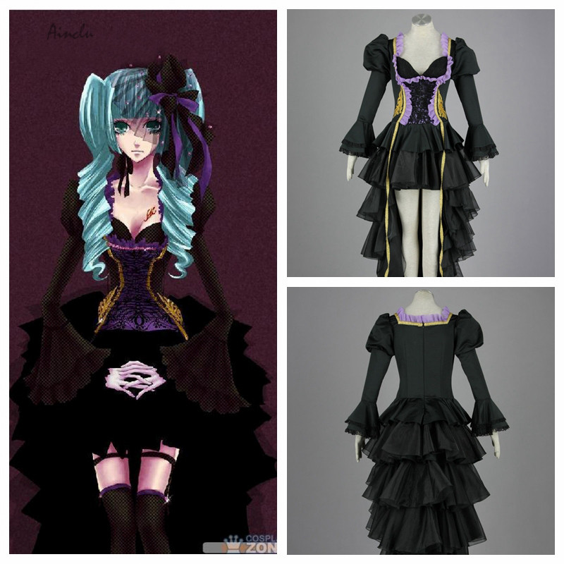 Ainclu Free Shipping Hatsune Miku Vocaloid Kids Halloween Cosplay Costume Customize for plus size adults
