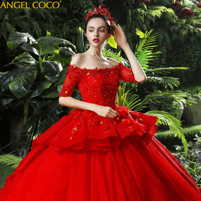 Red Maternity Wedding Dress 2018 New High Waist Pregnant Women Large Size Was Thin Long Elegant Shoulder Luxury Princess Fantasy цена
