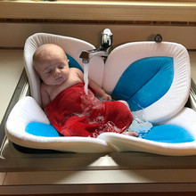 Herbabe Baby Bath Tub for Newborn Foldable Sink Shower Blooming Lotus Boy Girl Sunflower Play Mat Childen Kids Bathtub Pad