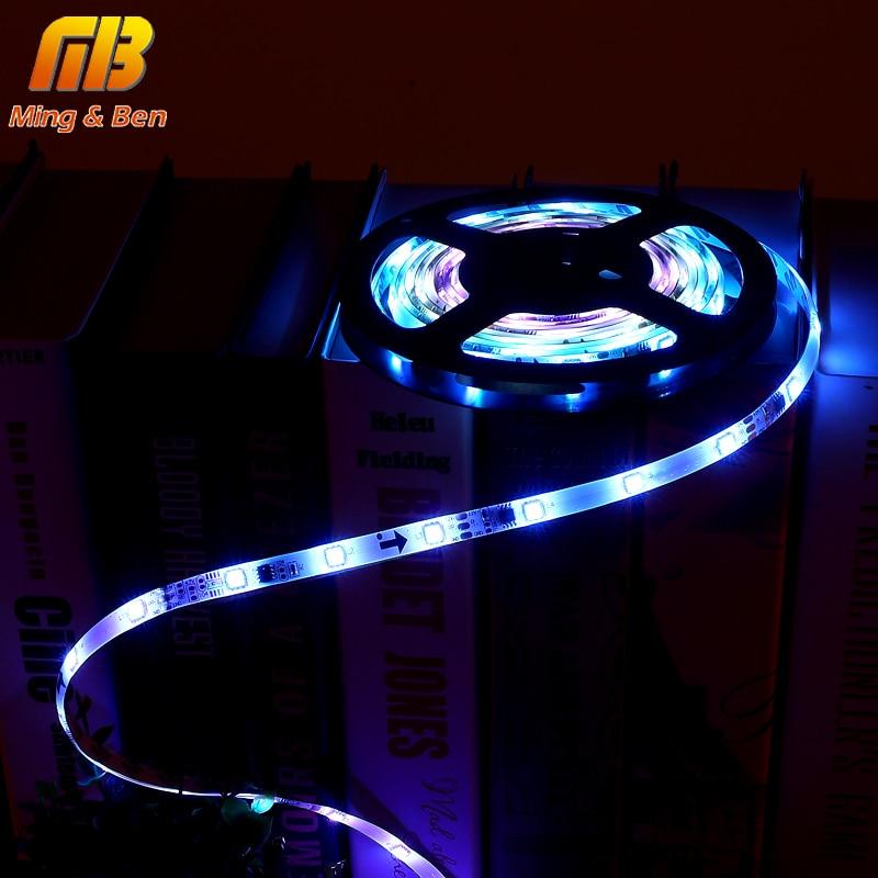[MingBen] 5M LED Strip Smart Auto Changeable RGB DC12V SMD5050 Full Color Pixel IC Digital Individually Addressable Tape Light addressable 3d smart pixel ball dc24v