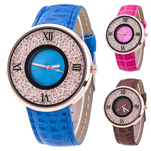 Montre 7 Color Bling Rhinestone Watches Women Leather Strap Quartz Female Clock Ladies Dress Wristwatch Gift 2017 Relojes Mujer