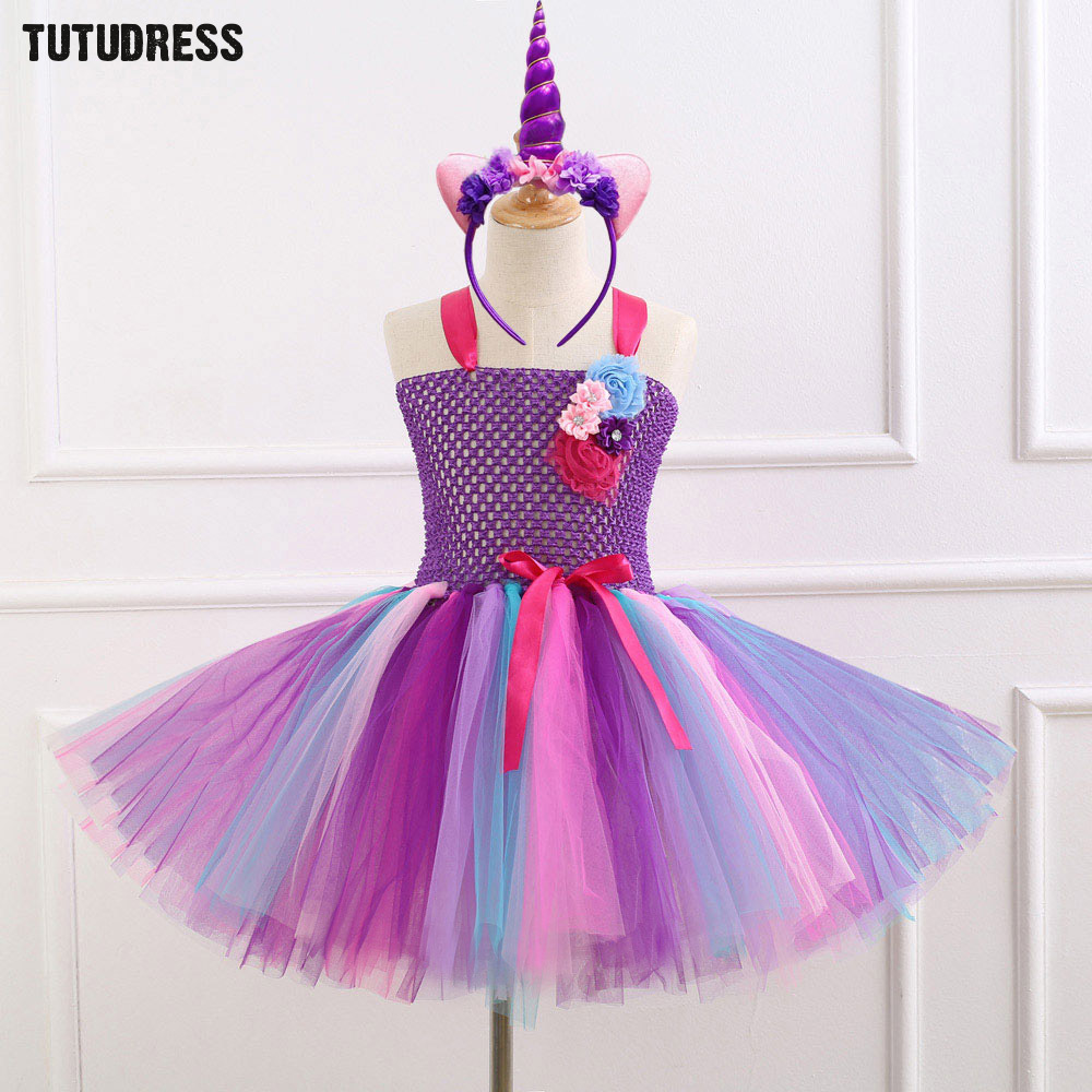 7 Style Flower Girls Unicorn Tutu Dress With Headband Fancy Girl Party Dress Rainbow Tulle Princess Dress Kids Halloween Costume gorgeous pink and white girls tutu dress with headband princess birthday party wedding costume photo props tulle dress ts110