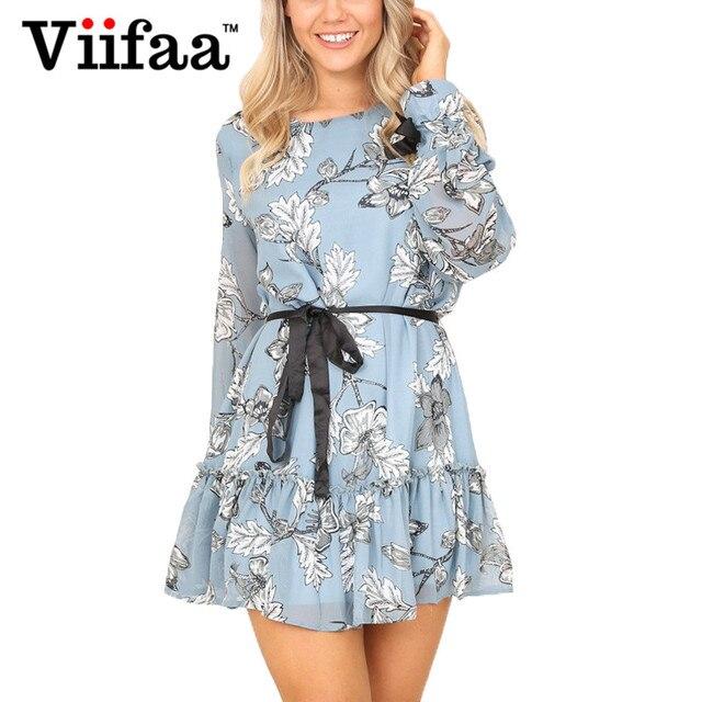 8b666877a431df Viifaa Floral Print Chiffon Dress Lined Long Sleeve Flowers Dress Women  Light Blue Ruffle Autumn Shirt Dresses