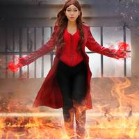 Marvel's Captain America 3 Civil War Cosplay Scarlet Witch Wanda Maximoff Costume Adult Women Halloween Outfit Custom Made