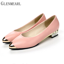 2019 New Women's Pump Shoes Fashion Brand Crystal Shallow Mouth Square Heel Low heel Women Pumps Pointed Casual Single Shoes 30