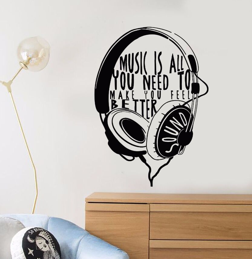 Wall Decal Vinyl Headphones Musical Quote Wall Sticker Music Gift for Teen Removable Vinyl Music Design Wall Art Mural AY604 image
