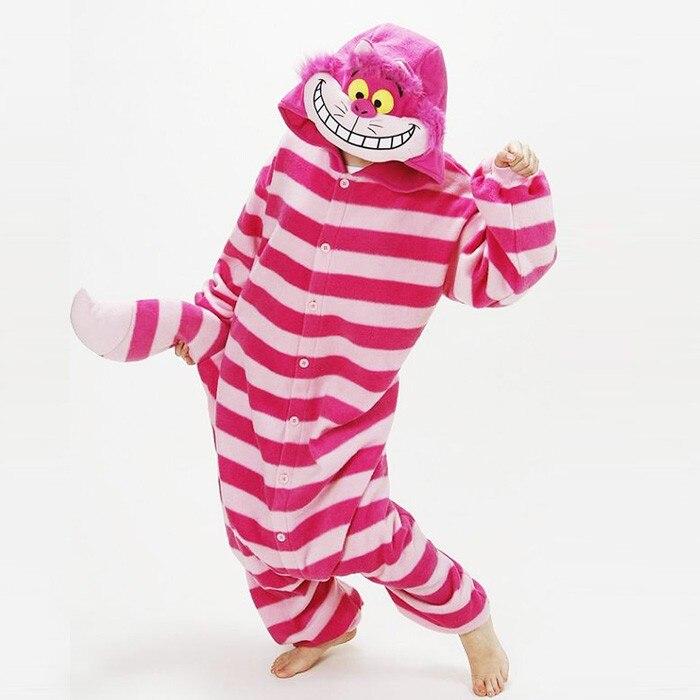 Free Shipping JP Anime Cheshire Cat Onesie Cosplay Costume Pajamas Adult Pyjamas Party Unisex