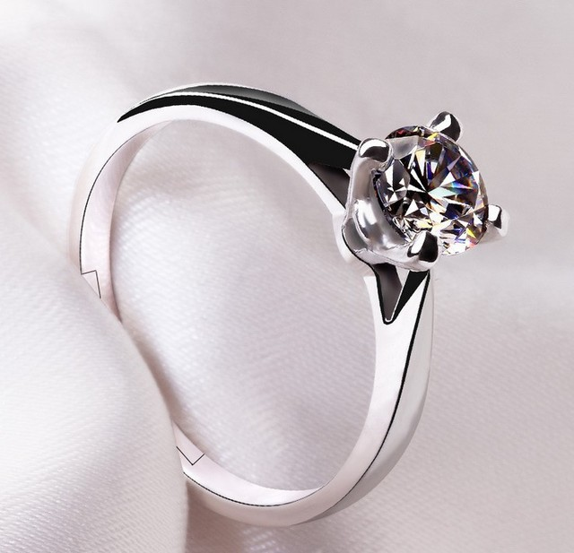 Classic 4 Claw Wedding Ring Engagement open adjustable Ring Real 925 Sterling Silver AAA Cubic Zirconia R160307